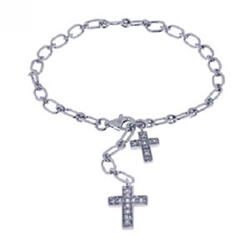Sterling Silver Bracelet with Two Cross Charm Paved with Clear Simulated Diamonds