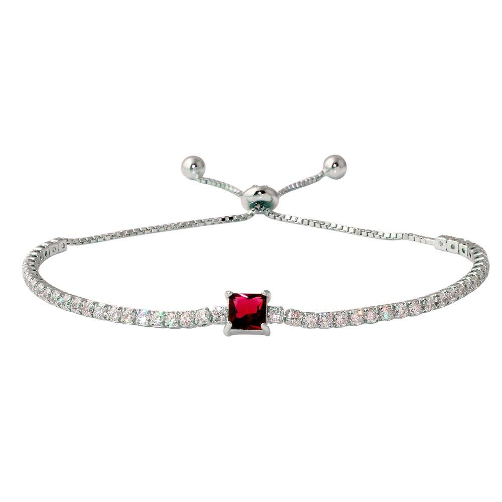 Sterling Silver Rhodium Plated Round CZ Lariat Bracelet with Red CZ Square Center