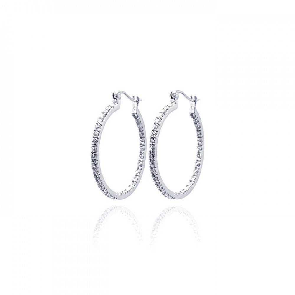 Sterling Silver Rhodium Plated  Hoop Earrings With CZ Stones