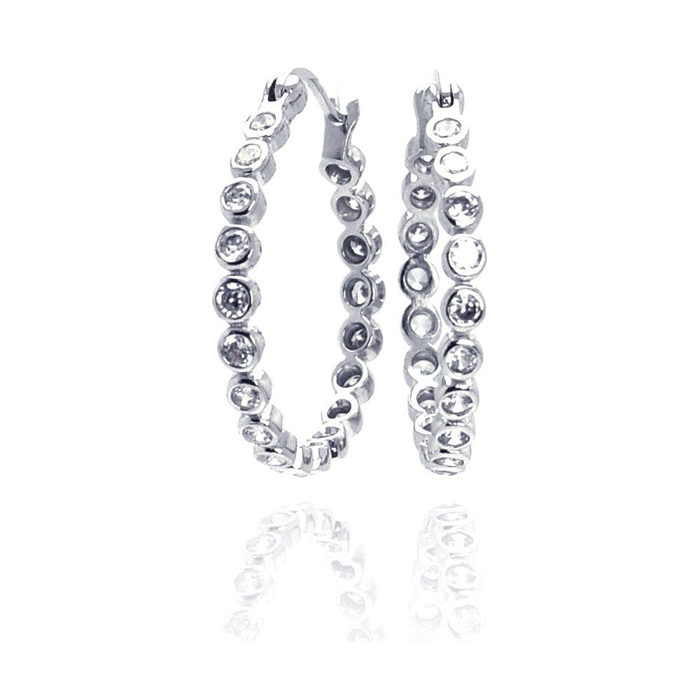 Sterling Silver Nickel Free Rhodium Plated Round Shape Small Bubble Hoop Earrings With CZ Stones