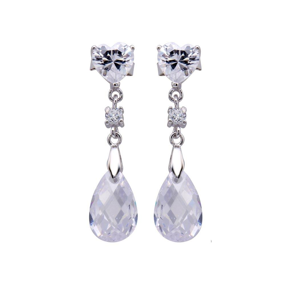 Sterling Silver Nickel Free Rhodium Plated Heart And Teardrop Shaped  Dangling Stud Earring With CZ Stones
