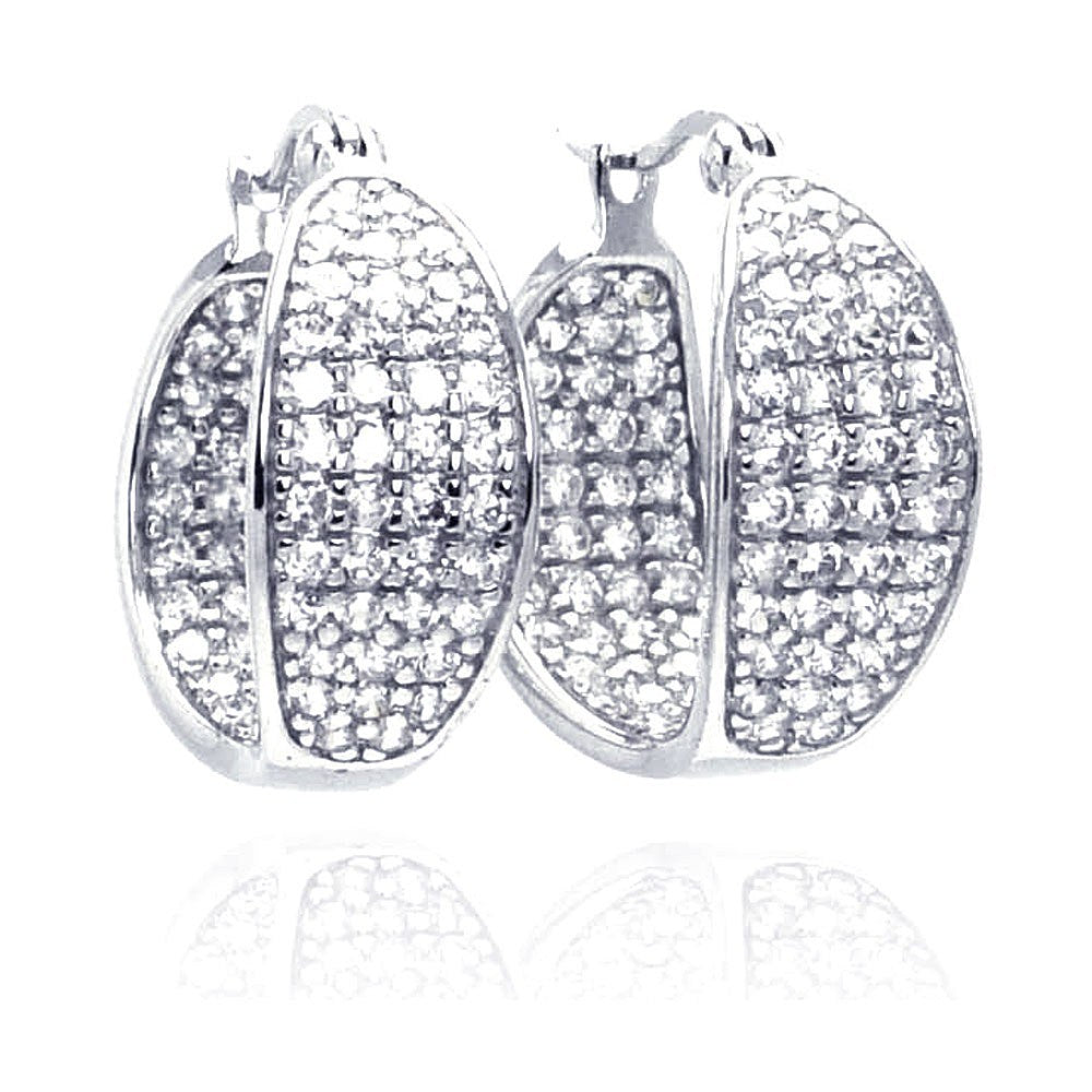 Sterling Silver Nickel Free Rhodium Plated Thick Round Pave Cluster CZ Hoop Earring
