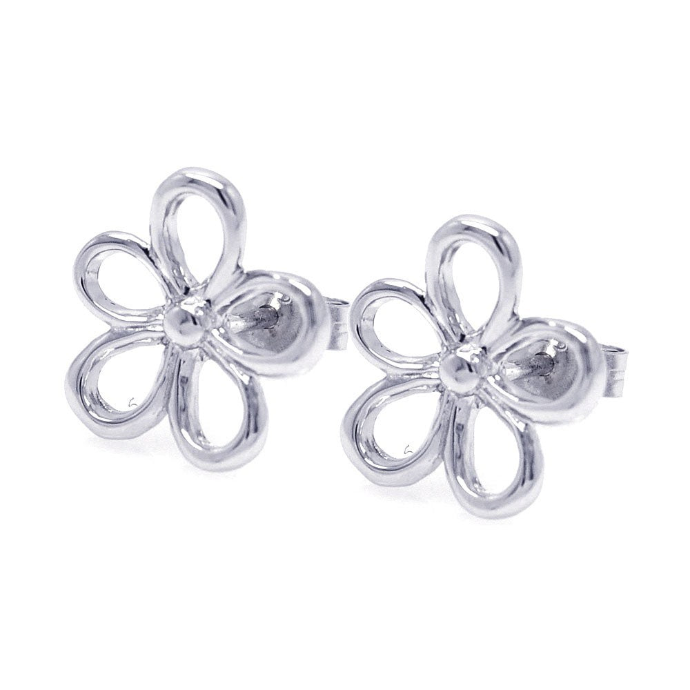 Sterling Silver Nickel Free Rhodium Plated Open Flower One Clear CZ  Stud Earring
