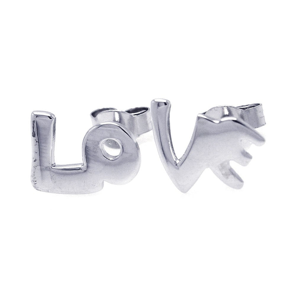 Sterling Silver Nickel Free High Polished Rhodium Plated Love Stud Earring