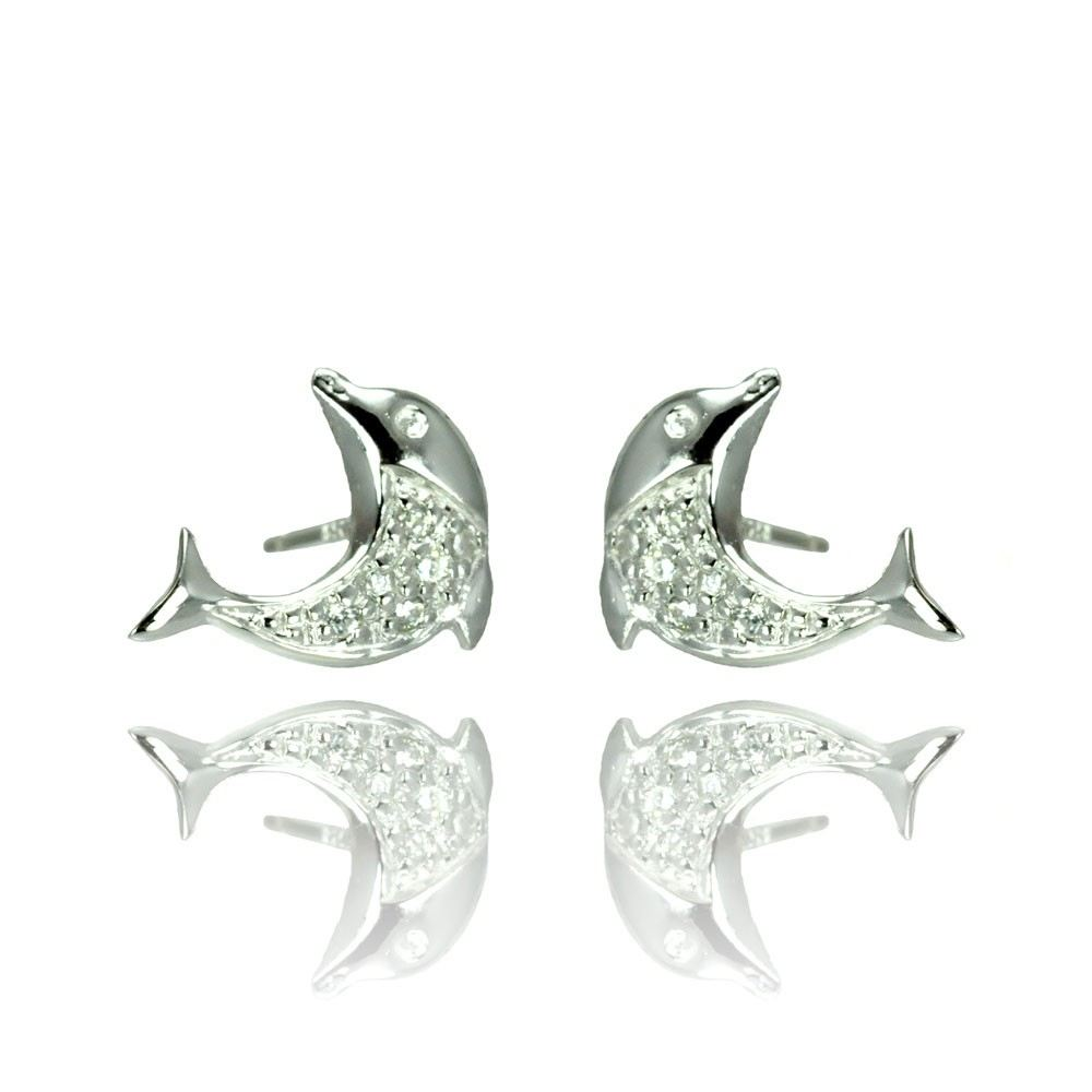 Sterling Silver Nickel Free Rhodium Plated Dolphin Shaped  Stud Earrings With CZ Stones