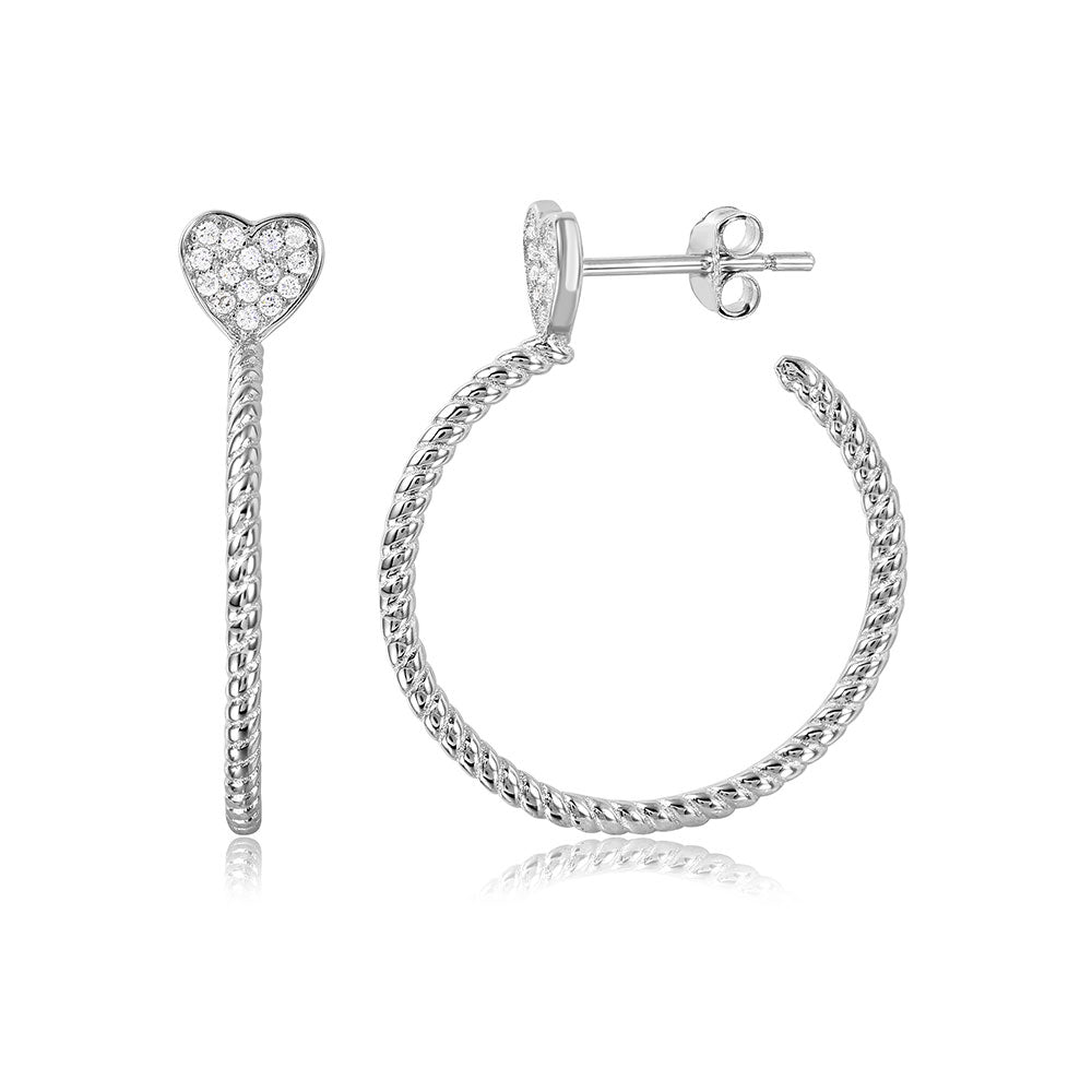 Sterling Silver Rhodium Plated Semi Hoop Earrings with Rope Design and CZ Paved HeartAnd Earring Diameter of 22MM and Friction Back Post