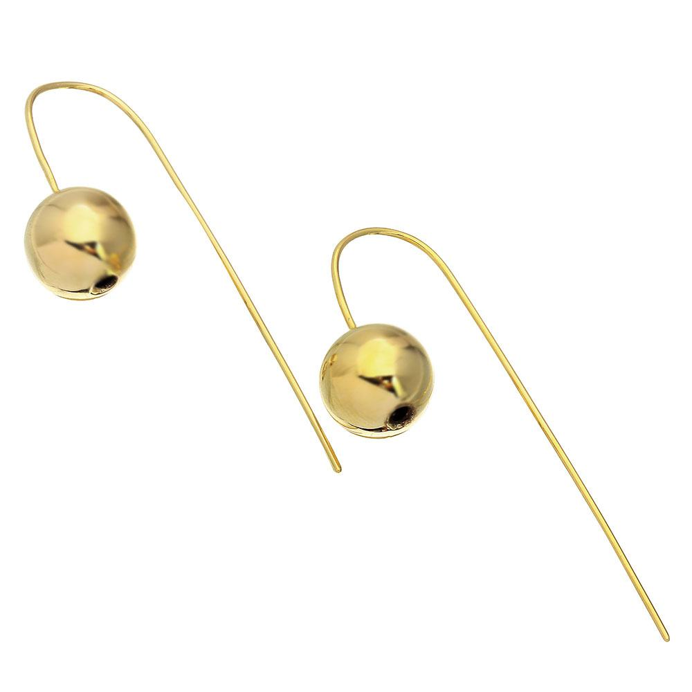 Sterling Silver Gold Plated Bead With Hanging Post Shape Earrings