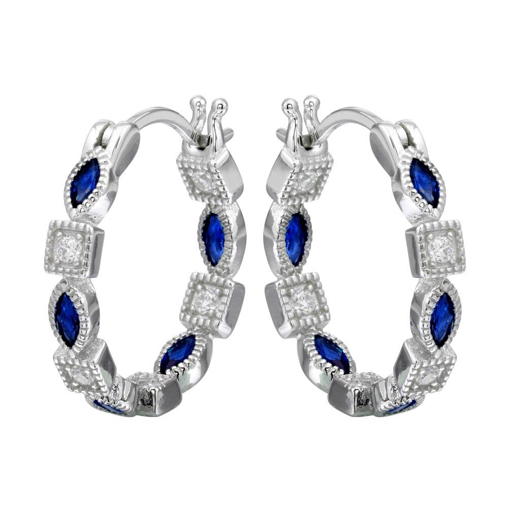 Sterling Silver Rhodium Plated Inner And Outer Blue Clear CZ Hoop Earrings