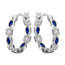 Load image into Gallery viewer, Sterling Silver Rhodium Plated Inner And Outer Blue Clear CZ Hoop Earrings