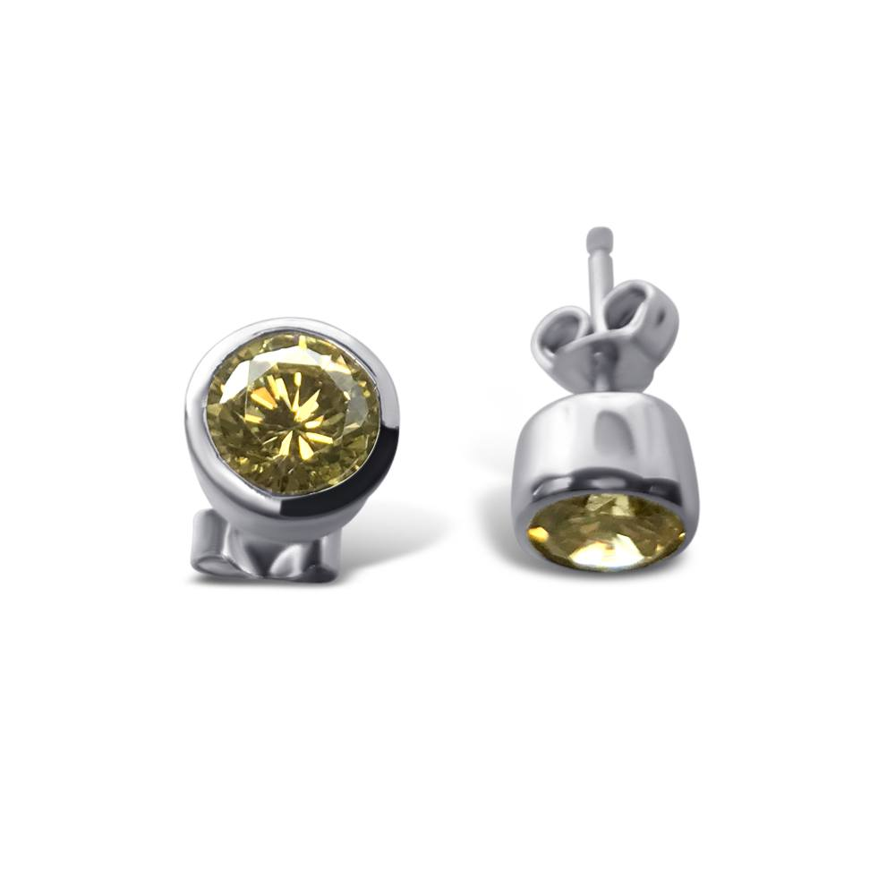 Sterling Silver Rhodium Plated Round Yellow CZ Stud Earrings