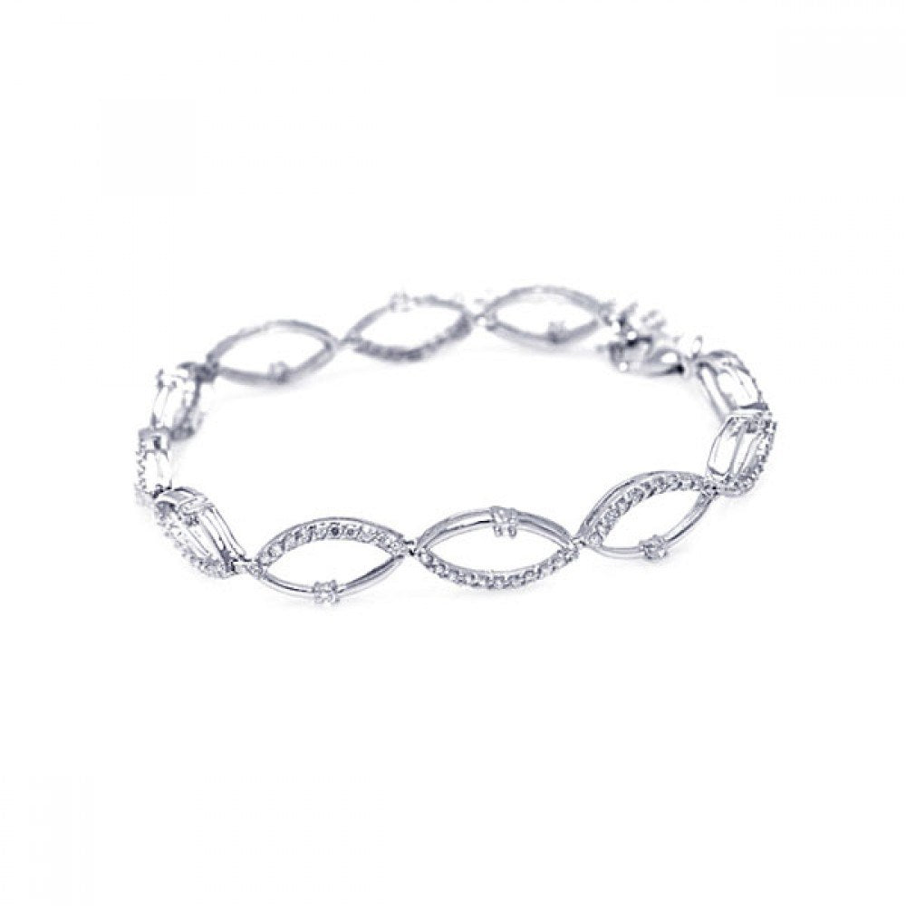 Sterling Silver Rhodium Plated Multiple Open Marqui CZ Outline Bracelet