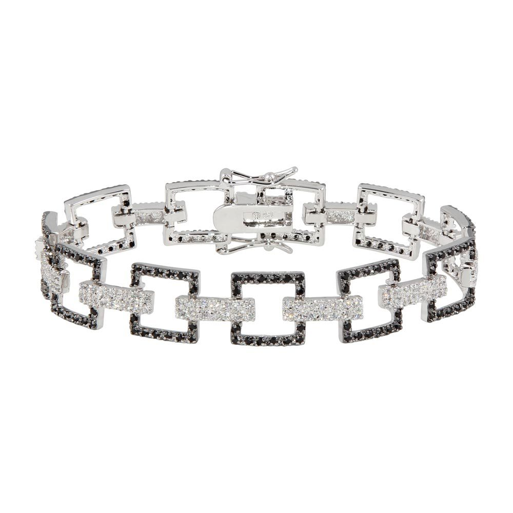 Sterling Silver Rhodium Plated Multiple Square Black Open CZ Bracelet