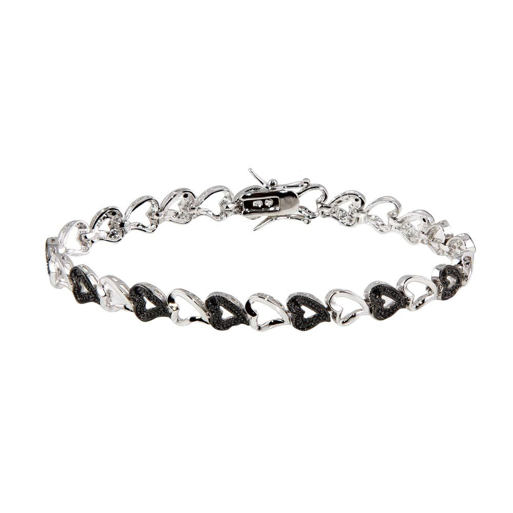 Sterling Silver Black and Rhodium Plated Multiple Open Heart CZ Bracelet