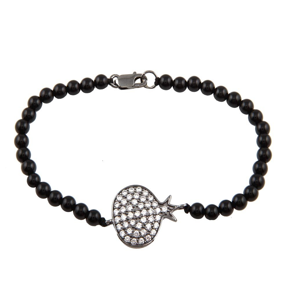 Sterling Silver Rhodium Plated Circle Crown CZ Inlay Black Bead Bracelet