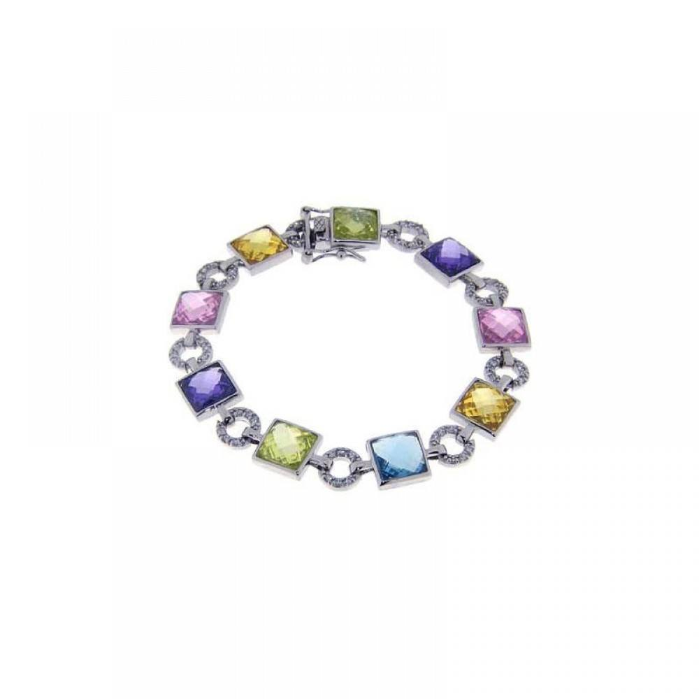 Sterling Silver Rhodium Plated Multi Color Square and Circle Bracelet