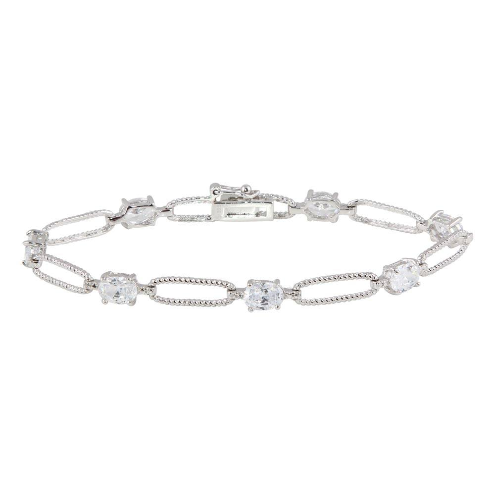 Sterling Silver Rhodium Plated Clear CZ Large Link Bracelet