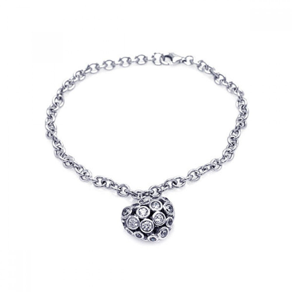 Sterling Silver Rhodium Plated Clear CZ Heart Charm Bracelet