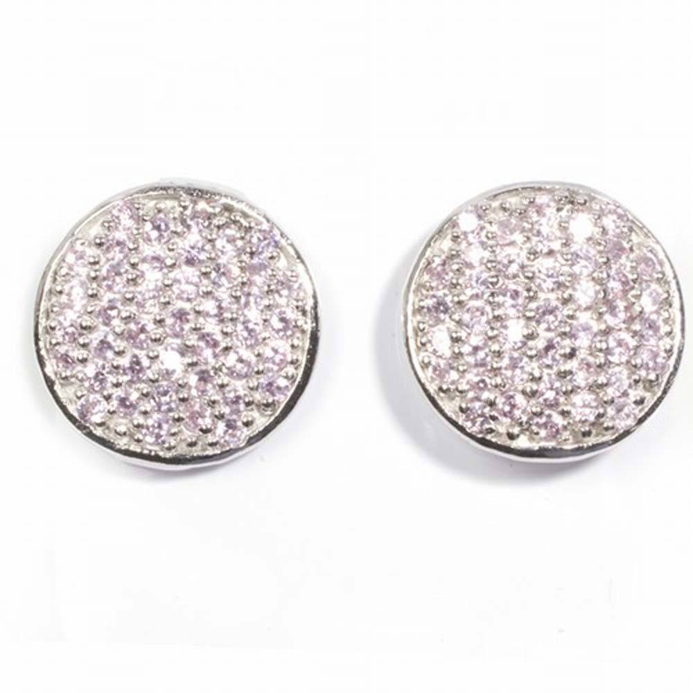 Sterling Silver Pink Round Shaped CZ EarringsAnd Height 14 mm