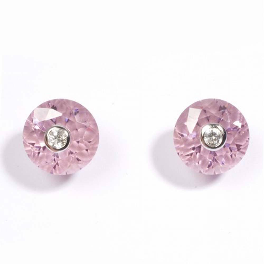 Sterling Silver Pink And Clear Round Shaped CZ EarringsAnd Height 12 mm