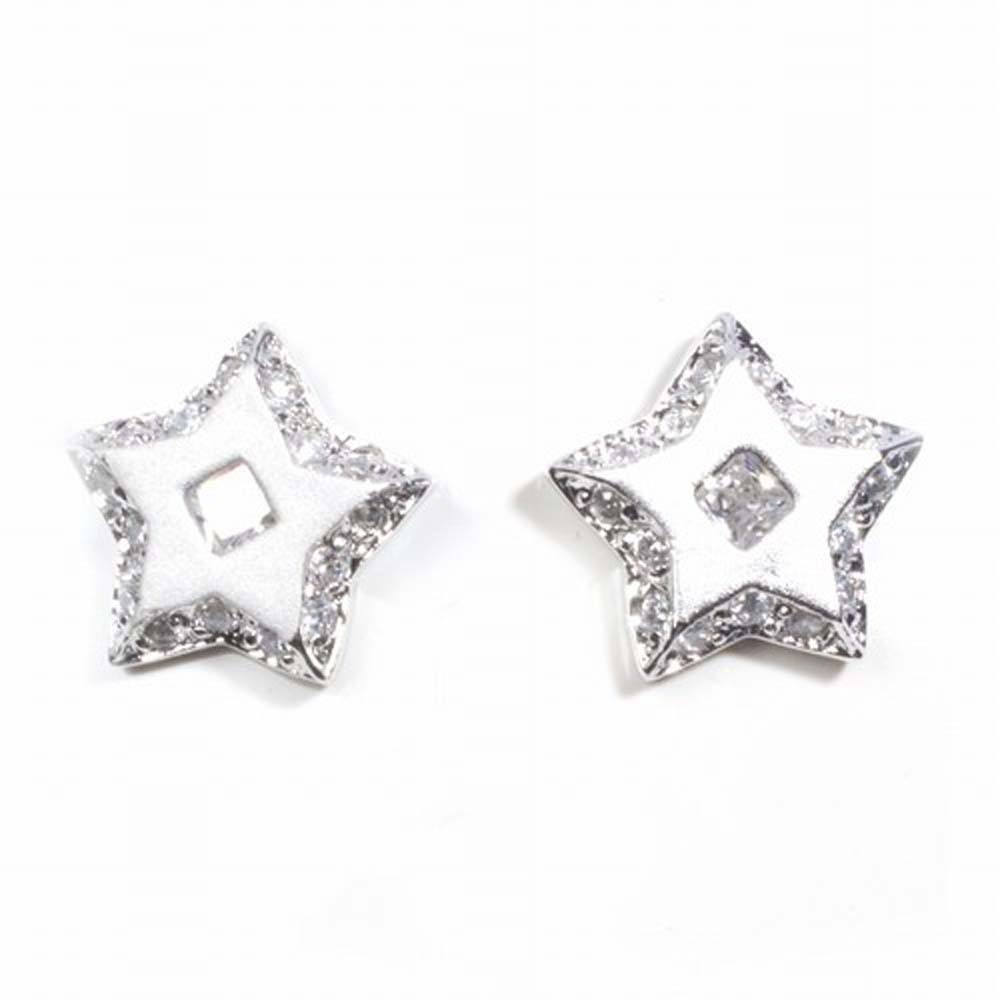 Sterling Silver Star Shaped CZ EarringsAnd Height 11 mm
