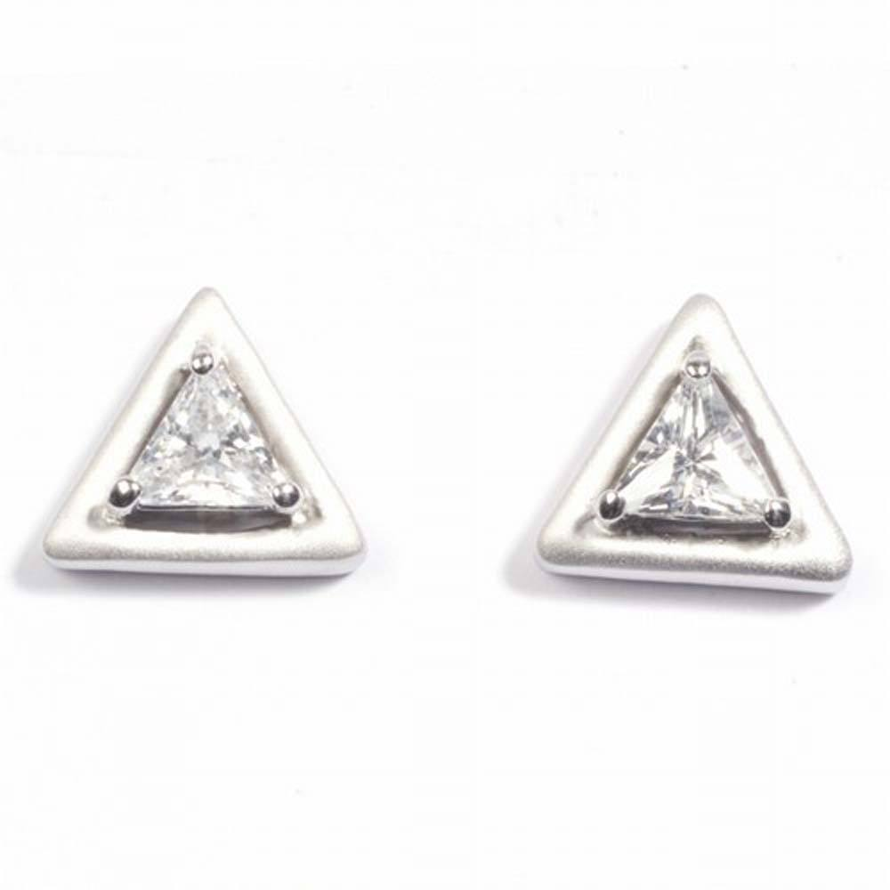 Sterling Silver Triangle Shaped CZ EarringsAnd Height 10 mm
