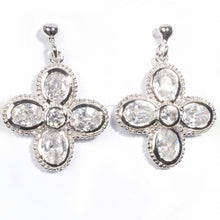 Load image into Gallery viewer, Sterling Silver Flower Shaped CZ EarringsAnd Height 25 mm