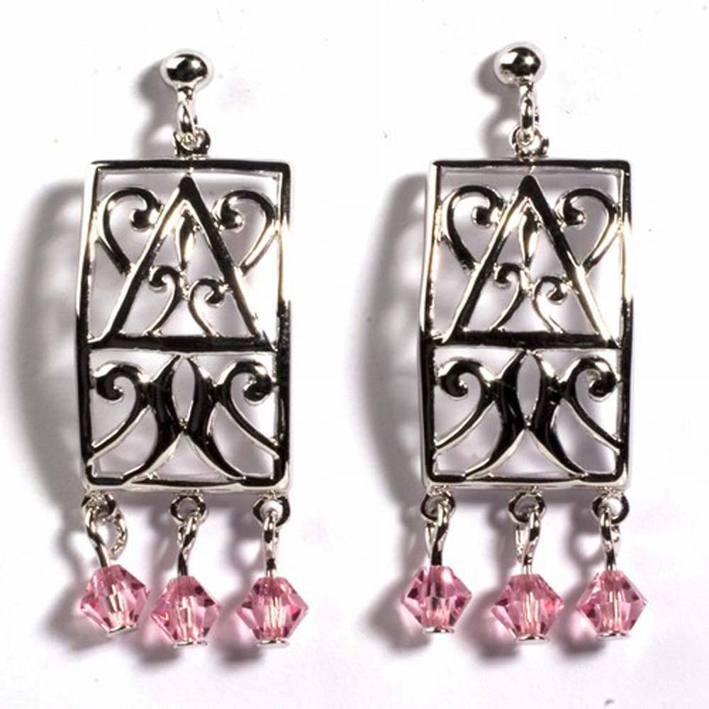 Sterling Silver Pink Celtic Rectangle Shaped CZ EarringsAnd Height 35 mm