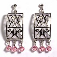 Load image into Gallery viewer, Sterling Silver Pink Celtic Rectangle Shaped CZ EarringsAnd Height 35 mm