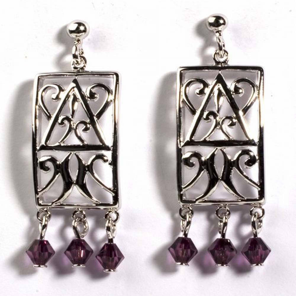 Sterling Silver Garnet Celtic Rectangle Shaped CZ EarringsAnd Height 35 mm