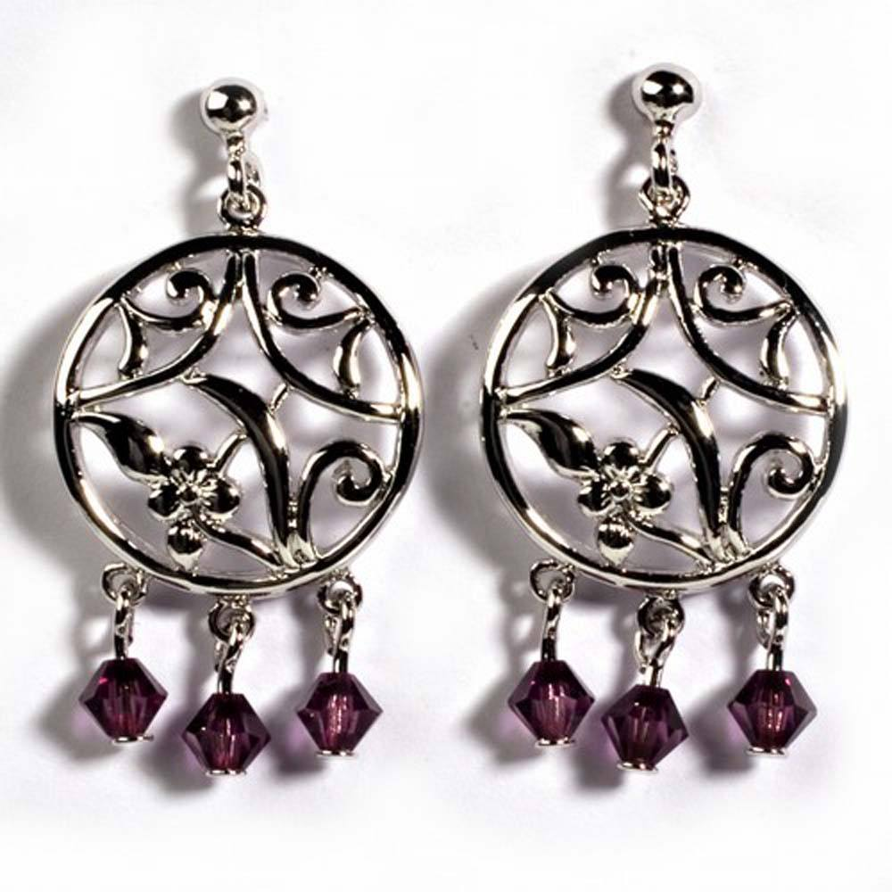 Sterling Silver Garnet Celtic Circle Shaped CZ EarringsAnd Height 33 mm
