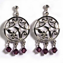 Load image into Gallery viewer, Sterling Silver Garnet Celtic Circle Shaped CZ EarringsAnd Height 33 mm