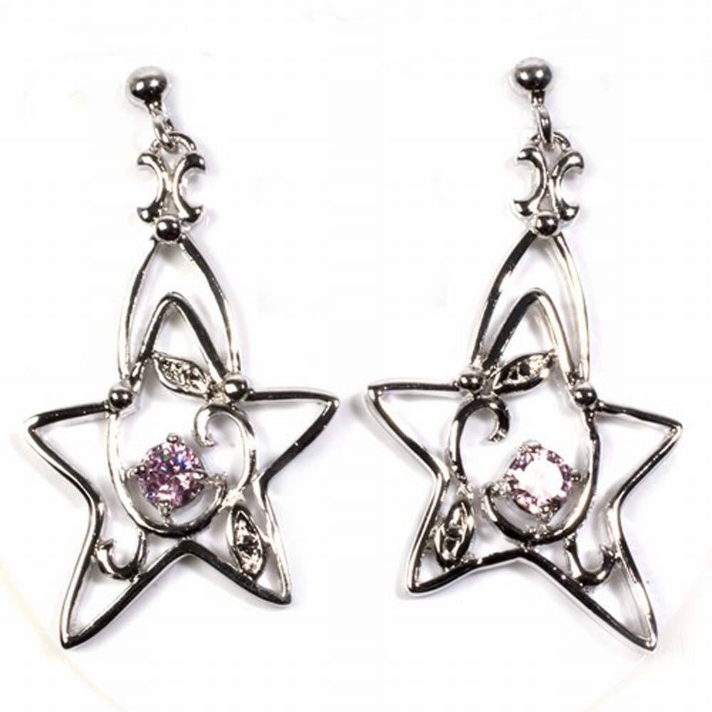 Sterling Silver Pink And Clear Star Shaped CZ EarringsAnd Height 37 mm
