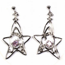 Load image into Gallery viewer, Sterling Silver Pink And Clear Star Shaped CZ EarringsAnd Height 37 mm