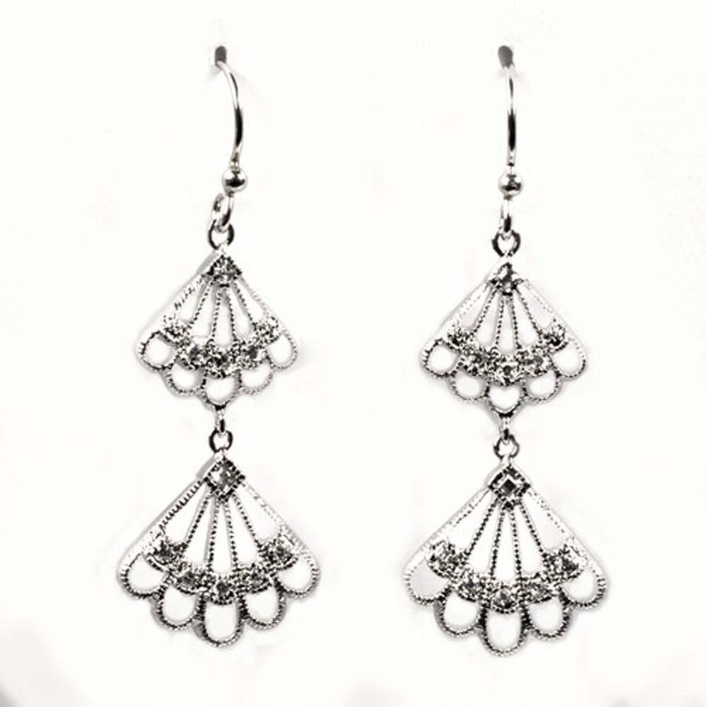 Sterling Silver Hanging Wings Shaped CZ EarringsAnd Height 44 mm