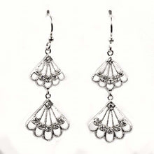Load image into Gallery viewer, Sterling Silver Hanging Wings Shaped CZ EarringsAnd Height 44 mm