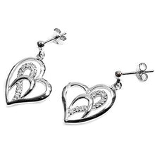 Load image into Gallery viewer, Sterling Silver Heart Shaped CZ EarringsAnd Height 17 mm