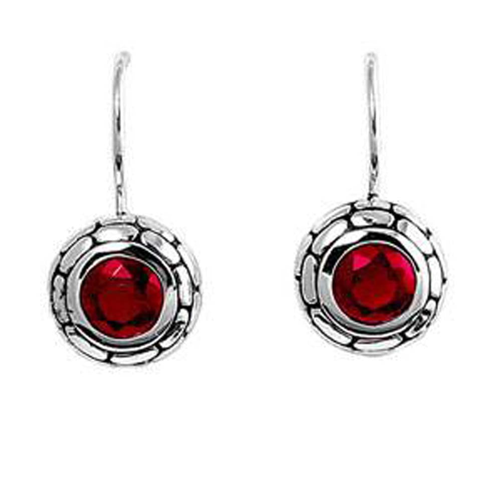 Sterling Silver Bali Ruby Round Shaped CZ EarringsAnd Earring Height 11 mm