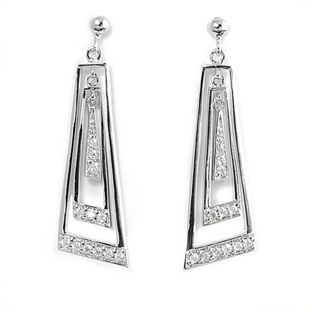 Sterling Silver Rectangle Drop Dangle Shaped CZ EarringsAnd Earring Height 31 mm