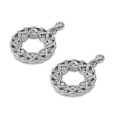 Load image into Gallery viewer, Sterling Silver Celtic Circle Shaped Assorted CZ EarringsAnd Pendant Height 22 mm