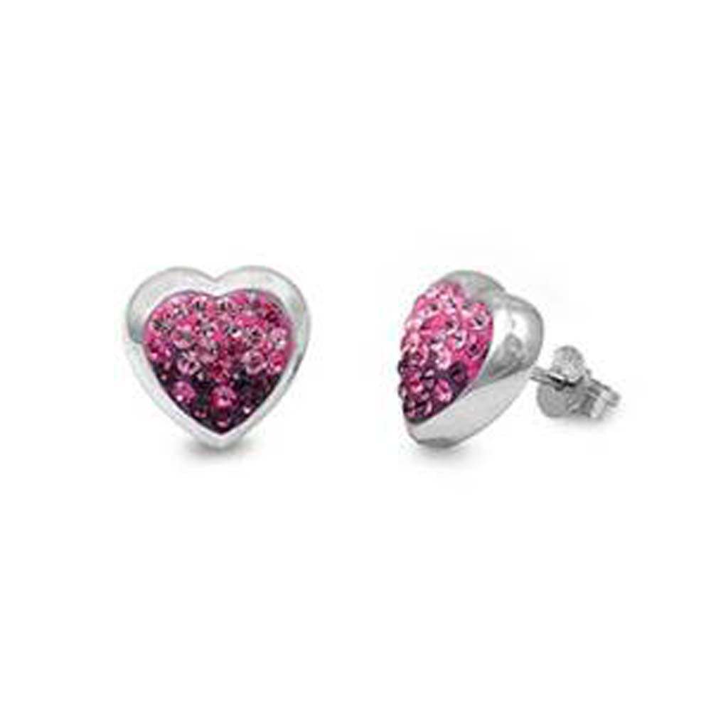 Sterling Silver Pink And Clear Heart Shaped Assorted CZ EarringsAnd Pendant Height 11 mm