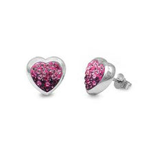 Load image into Gallery viewer, Sterling Silver Pink And Clear Heart Shaped Assorted CZ EarringsAnd Pendant Height 11 mm