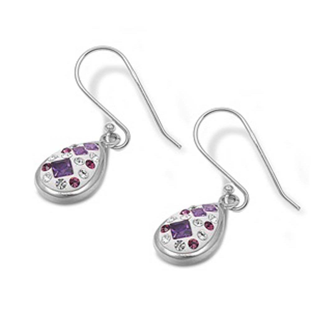 Sterling Silver PinkAnd Amethyst And Clear Pear Shaped Assorted CZ EarringsAnd Pendant Height 14 mm