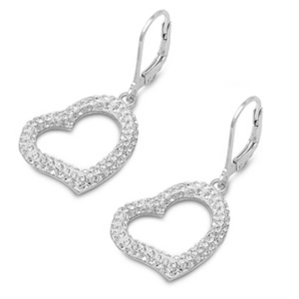 Sterling Silver Heart Shaped CZ EarringsAnd Pendant Height 17 mm