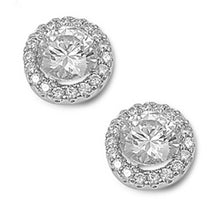 Load image into Gallery viewer, Sterling Silver Round Shaped CZ EarringsAnd Pendant Height 13 mm