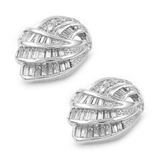 Load image into Gallery viewer, Sterling Silver Sea Shell Shaped CZ EarringsAnd Pendant Height 19 mm