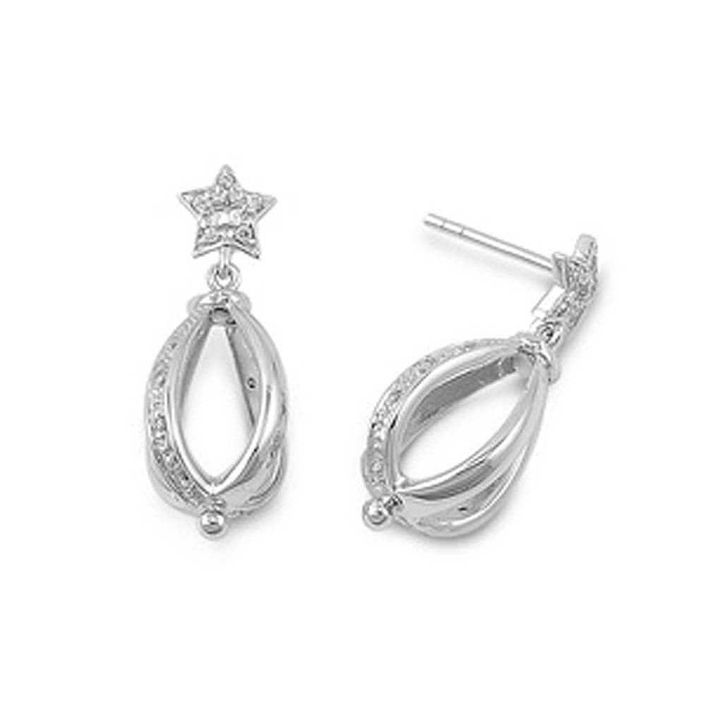 Sterling Silver Star And Tear Drop Shaped CZ EarringsAnd Pendant Height 27 mm