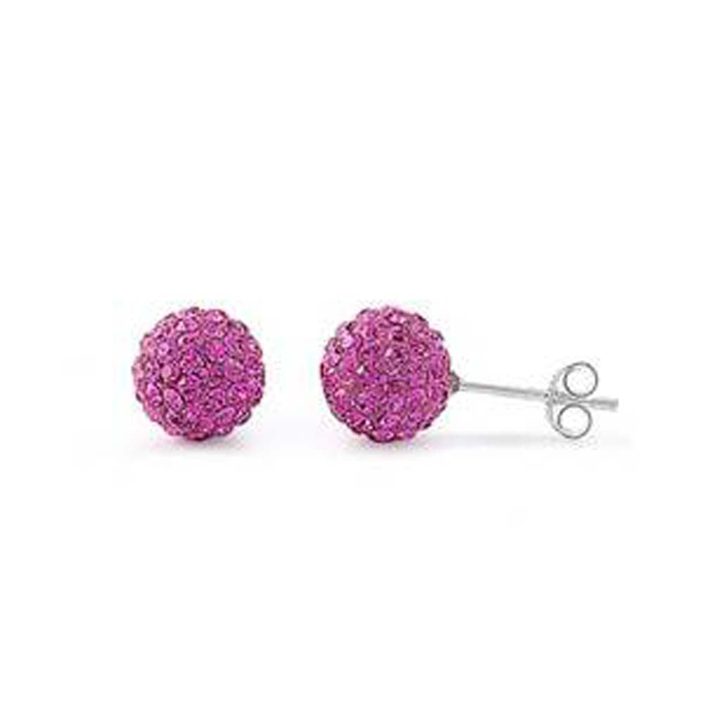 Sterling Silver Rose Pink Crystal Round Shaped CZ EarringsAnd Face Height 8 mm