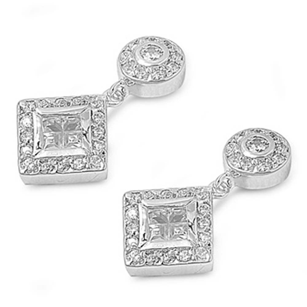 Sterling Silver Diamond Cut Shaped CZ EarringsAnd Face Height 21 mm