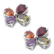 Load image into Gallery viewer, Sterling Silver Multicolor Flower Shaped CZ EarringsAnd Face Height 12 mm