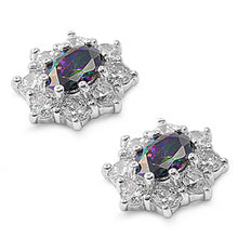 Load image into Gallery viewer, Sterling Silver Rainbow Topaz Flower Shaped CZ EarringsAnd Face Height 13 mm